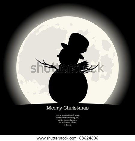 Elegant Black Christmas Background. Snowman silhouette in front of a full Moon. Vector