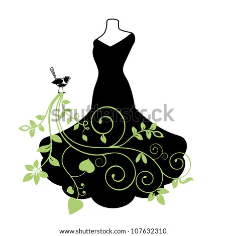 Elegant black gown with natural elements - stock vector