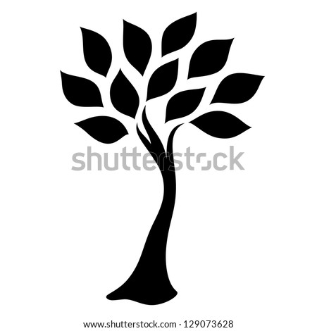 elegant black tree - stock vector