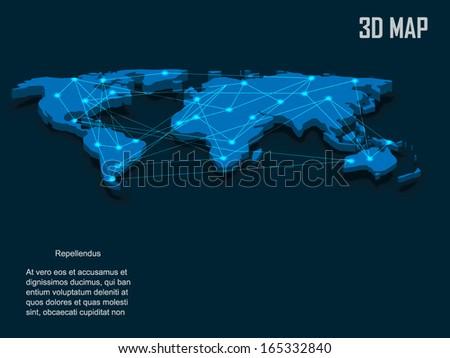 Elegant blue 3d vector World Map - stock vector