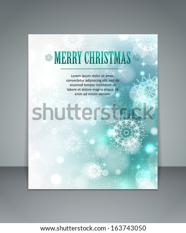 Elegant blue glimmered Christmas background with snowflakes and blurred bokeh lights . Merry Christmas greeting  card with place for text. Isolated flyer. Vector illustration for your holiday design - stock vector