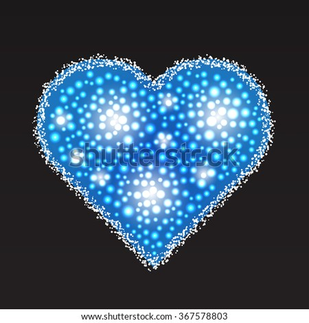 Elegant blue heart composed from small pearls. Love romantic Valentine art. Valentine's Day vector illustration.