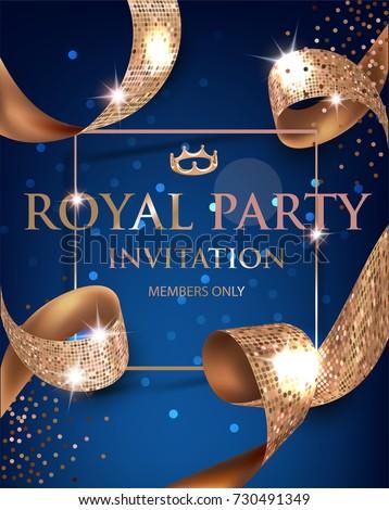 Elegant blue vip invitation card gold stock vector 730491349 elegant blue vip invitation card with gold textured curled gold ribbons vector illustration stopboris Images