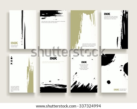 elegant brochure template design set with brush stoke elements - stock vector