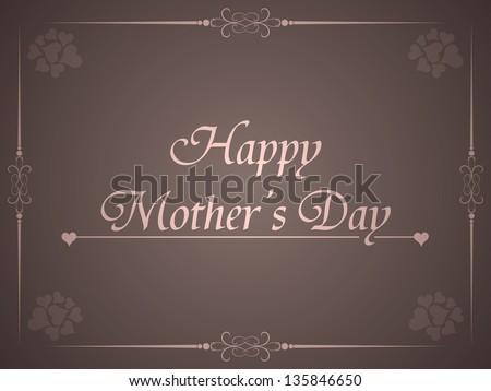 elegant brown color background for mother's day. vector illustration - stock vector
