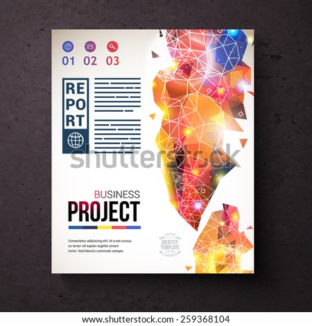 Elegant Business Identity Template Design for Web, With Abstract Design on the Right, on Dark Brown Background. Vector illustration. - stock vector