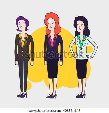 Elegant business woman vector characters set. Different hairs and poses. Brunette, red hair and short hair business women. Women wearing business clothing. Linear flat design. - stock vector