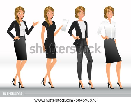 elegant business women formal clothes base stock vector