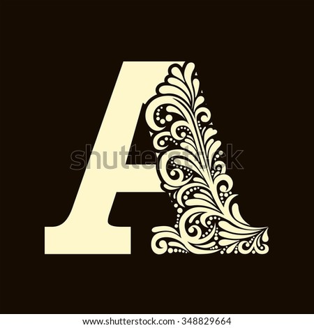 Elegant capital letter A in the style of the Baroque. To use monograms, logos, emblems and initials. - stock vector