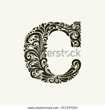 Elegant capital letter C in the style of the Baroque. To use monograms, logos, emblems and initials. - stock vector