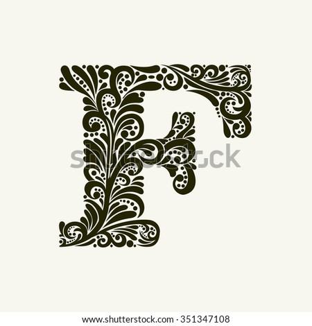 Elegant capital letter F in the style of the Baroque. To use monograms, logos, emblems and initials. - stock vector
