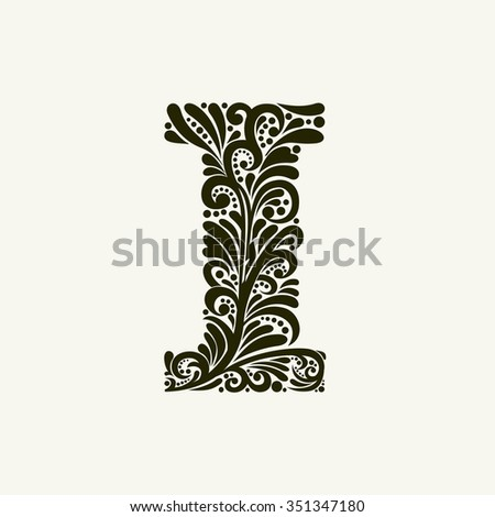 Elegant capital letter I in the style of the Baroque. To use monograms, logos, emblems and initials. - stock vector
