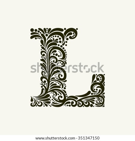 Elegant capital letter L in the style of the Baroque. To use monograms, logos, emblems and initials. - stock vector