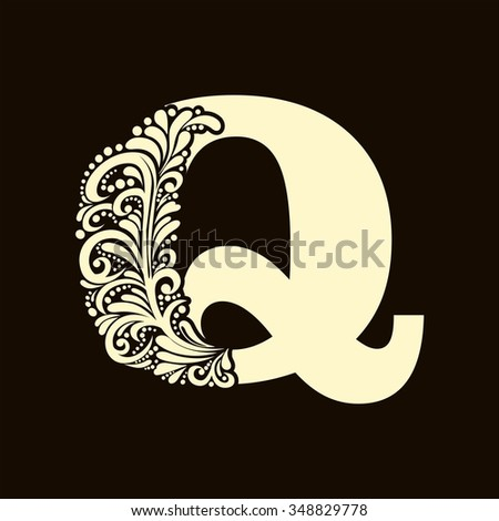 Elegant capital letter Q in the style of the Baroque. To use monograms, logos, emblems and initials. - stock vector