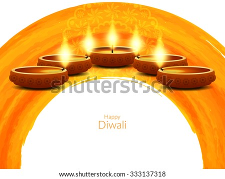 Elegant card design of traditional Indian festival Diwali. - stock vector