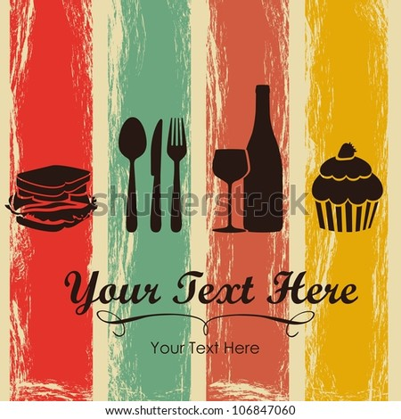Elegant card for restaurant menu, with spoon, knife, fork, sandwich, dessert, and wine vector illustration - stock vector