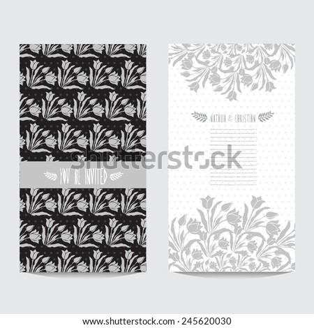 Elegant card in black silver colors with decorative tulips, design element. Can be used for wedding, baby shower, mothers day, valentines day, birthday cards, invitations. Vintage decorative flowers - stock vector