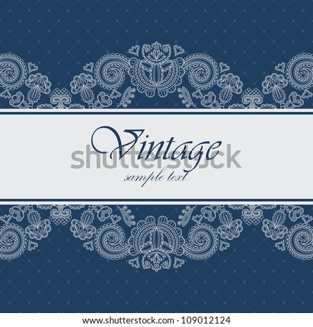 Elegant card with a blue background. Can be used as an invitation or frame - stock vector