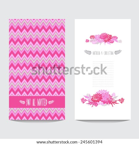Elegant card with decorative chrysanthemum flowers , design element. Can be used for wedding, baby shower, mothers day, valentines day, birthday cards, invitations. Vintage decorative flowers - stock vector