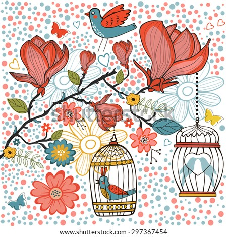 Elegant card with flowers bids and cages. Vector illustration - stock vector
