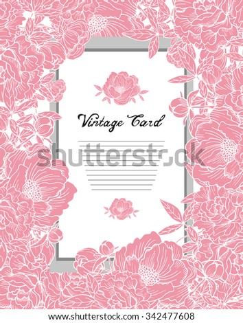 Elegant card with pink peonies floral bouquets, design element. Can be used for wedding, baby shower, mothers day, valentines day, birthday cards, invitations. Vintage decorative flowers. - stock vector