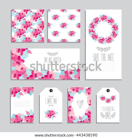 Elegant cards and gift tags with gardenia floral bouquets, design elements. Can be used for wedding, baby shower, mothers day, valentines day, birthday cards, invitations. Vintage decorative flowers - stock vector