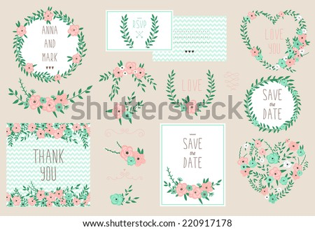 Elegant cards collection with floral bouquets and wreath design elements. Perfect for save the date, baby shower, mothers day, valentines day, birthday cards, invitations. Vector illustration set - stock vector