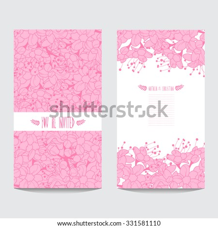 Elegant cards with decorative cherry flowers, design elements. Can be used for wedding, baby shower, mothers day, valentines day, birthday cards, invitations - stock vector