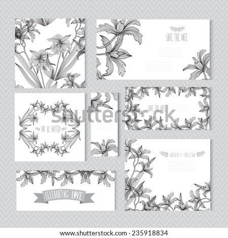 Elegant cards with decorative orchids, design elements. Can be used for wedding, baby shower, mothers day, valentines day, birthday cards, invitations. Vintage decorative flowers - stock vector