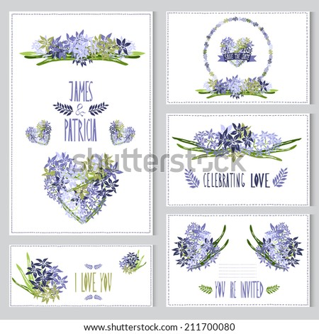Elegant cards with hyacinth bouquets, hearts and wreath, design elements. Can be used for wedding, baby shower, mothers day, valentines day, birthday cards, invitations. Vintage decorative flowers. - stock vector