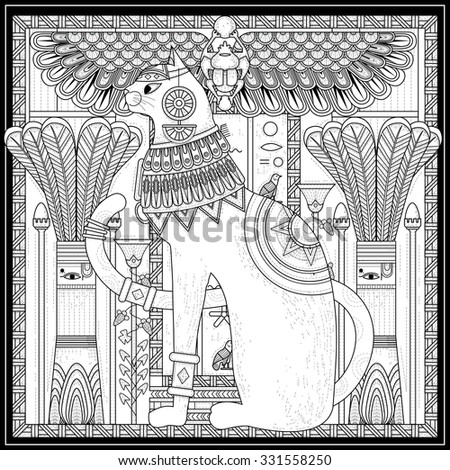 elegant cat coloring page design in Egypt style - stock vector