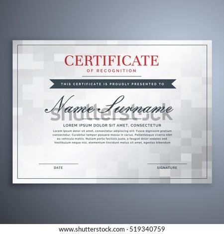 Elegant Certificate Design White Gray Checker Stock Vector 519340759 ...
