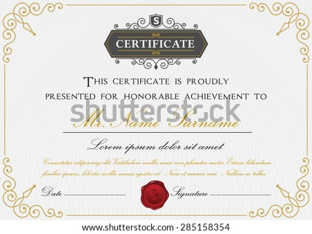Raftels certificate template set on shutterstock elegant certificate template design with border sealing wax and emblem on white background pronofoot35fo Choice Image
