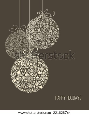Elegant Christmas background, snowflake pattern baubles - stock vector
