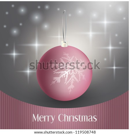 elegant christmas background with bauble - stock vector