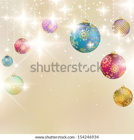 Elegant christmas background with baubles. EPS10 - stock vector