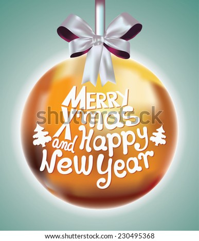 Elegant Christmas background with baubles. Merry Christmas and Happy New Year.  - stock vector