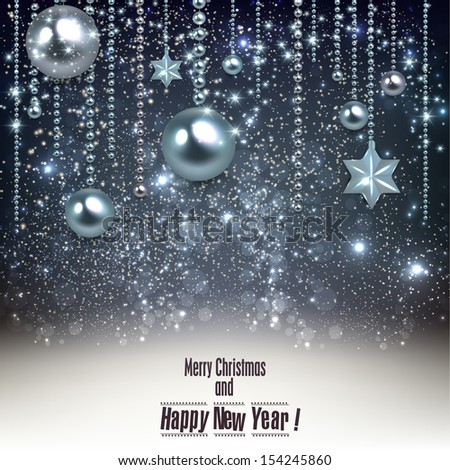 Elegant christmas background with blue baubles and stars. Vector illustration - stock vector