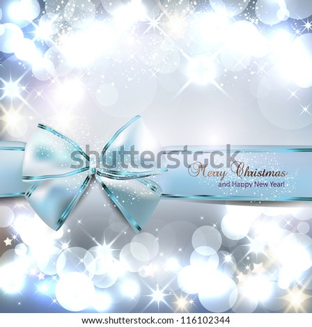 Elegant Christmas background with blue bow and place for text. Vector Illustration. - stock vector