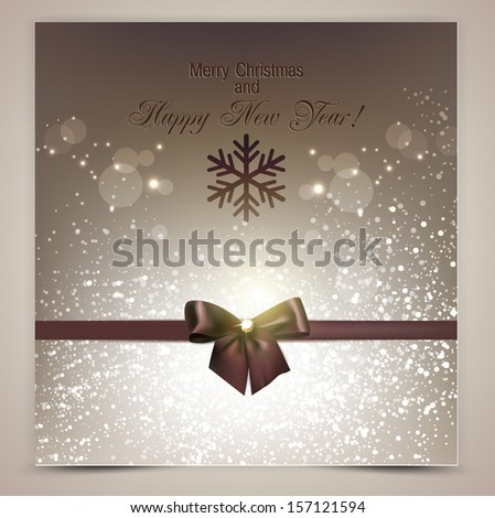 Elegant Christmas background with brown bow - stock vector