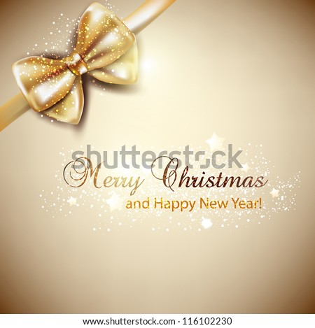 Elegant Christmas background with golden bow. Vector background - stock vector