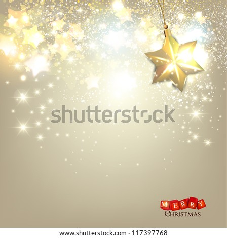 Elegant Christmas background with golden stars and place for text. Vector Illustration. - stock vector