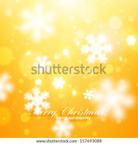 Elegant Christmas Background with Snowflakes. Orange version, vector - stock vector