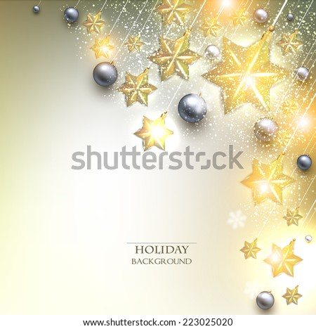 Elegant Christmas background with stars garland. Vector illustration - stock vector