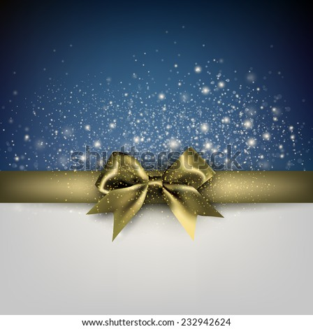 Elegant Christmas banner. Blue background with golden ribbon. Vector illustration.  - stock vector