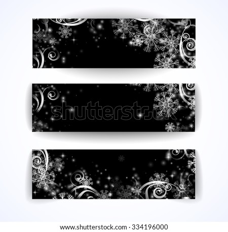 Elegant christmas black and white banner with snowflakes and lights - stock vector