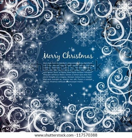 Elegant christmas blue background with snowflakes and lights - stock vector