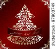 Elegant Christmas card with Christmas tree (eps10);  jpg version also available - stock photo