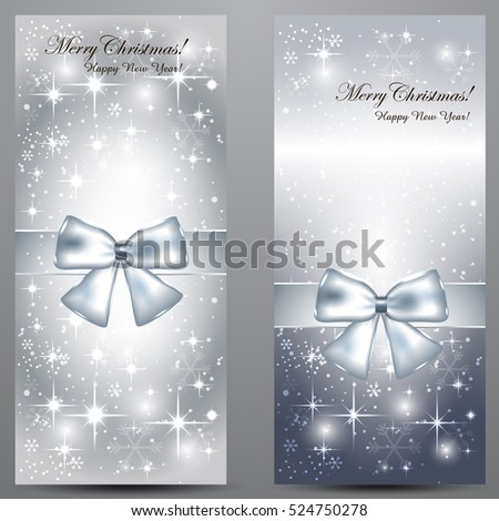 Elegant Christmas Cards / Banners with Silver Ribbons. Vector Illustration