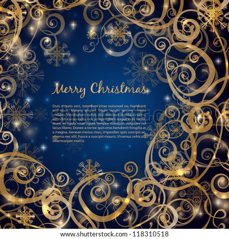 Elegant christmas dark blue with gold  background with snowflakes and lights - stock vector